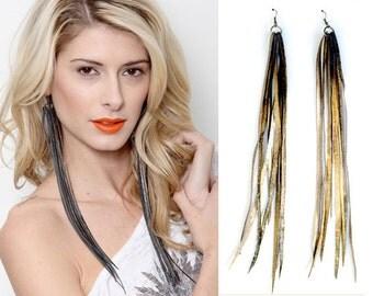 Vegan Leather Earrings, Bicycle Innertube Earrings, Recycled Bicycle Inner tubes,  Black Faux Leather Earrings, Bike Jewelry