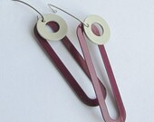 Powder Coated Earrings - Long Red and Pebble Grey