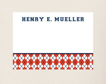 Argyle Note Cards Personalized Preppy