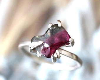 Watermelon Tourmaline 14K Palladium White Gold Ring, Stacking Ring, Gemstone Ring, Statement Ring, Eco Friendly - Ship In The Next 9 Days