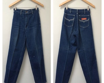 70s Jeans, Straight Leg, Western Jeans, High Waisted Jeans, Tapered Leg, High Rise Tapered, Dark Denim Jeans, Vintage Jeans   XXS, XS, W 25