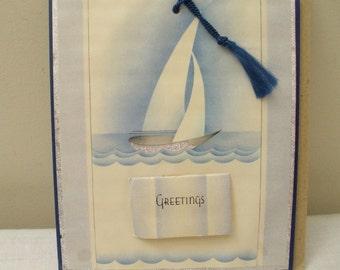 Vintage Greeting Sailboat 1937 Calendar