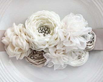Ivory and Champagne Bridal Sash
