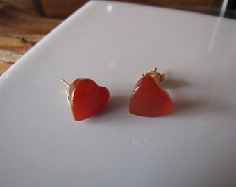 Hot Orange Carnelian Heart Earrings Translucent  Lushes Orange Earrings