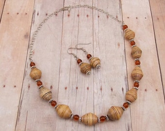 Paper Bead Necklace and Earring Set - Rwandan Paper Beads - Tan with Brown Glass Beads
