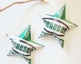 Genesee Stars, Choice of Genesee Cream Ale or Genesee  Beer Stars Ornaments Aluminum Can Upcycled