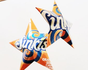 Sunkist Orange or Grape Soda Stars Christmas Ornaments Soda Can Upcycled