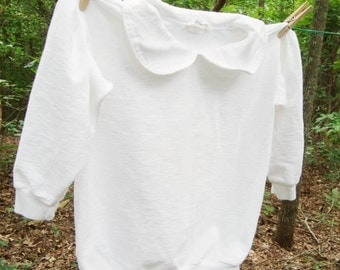 Vintage GIRLS Plain White Sweatshirt, Dressy, Feminine, Size 5-6, 7, 8,Peter Pan Collar, Plain White for Dye, Blank PFD