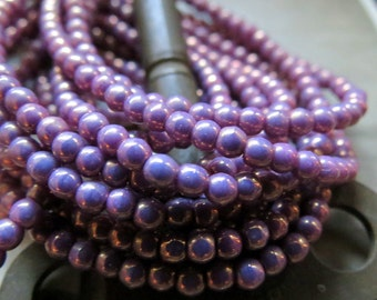 NEW Tiny Lavender Lust Druks . Czech Fire Polished Glass Beads (50) 3 mm