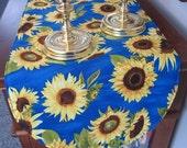 Blue Sunflower Table Runner 36 Inch Table Runner Vibrant Sunflower Yellow Table Runner Yellow and Blue Table Runner Large Sunflowers on Blue
