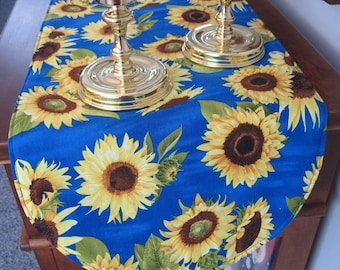 Blue Sunflower Table Runner 36 Inch Table Runner Vibrant Sunflower Yellow Table Runner Yellow and Blue Table Runner Large Sunflowers on Blue