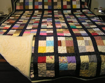 Sale item - Extra long queen size six block scrap quilt