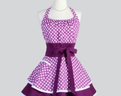 Flirty Chic Apron . Berry Purple and White Polka Dots Fabric Flirty Skirt Cute and Sexy Retro Womens Apron Cute Flirty Chic Apron