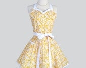 Sweetheart Retro Apron , Retro Cute Womens Apron Feminine and Flirty in Yellow and White Damask