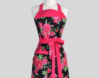 Full Bib Womens Apron - Classic Vintage Apron in Bright Pink and Black Floral Full Kitchen Apron Personalize or Monogram