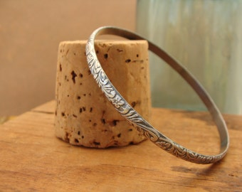 Oxidized Sterling Silver Stacking Bangle Bracelet--Western Floral Pattern--Handcrafted--Custom Size XXS to XXL