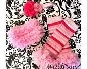 Valentines Day 4 piece Set- Baby Ruffle Bum Baby Bloomer, Baby Girl Headband , Stripe Leg warmers with chiffon ruffle- Photo Prop