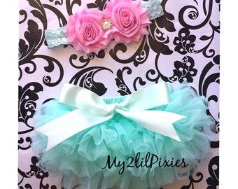 BLOOMER and HEADBAND Set-Baby Girl Set- Baby Ruffle Bloomer, Newborn Bloomer , ruffle diaper cover, Newborn headbands, Baby bloomer