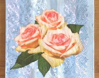 PN-28 Roses Paper Flowers Napkins for Decoupage Napkins with Roses Napkins for Art Luxury Design Wedding Birthday DECOUPAGE SERVIETTE