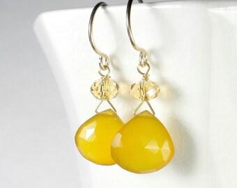 Yellow Earring, Yellow Drop Earrings, Yellow Briolette Earring