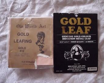 """Original Vintage GOLD LEAFING Sheets Imitation Metal Leaf Tissue Paper 5.5"""" x 5.5"""" Square"""