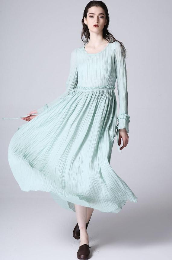 Light green linen dress women dress maxi dress 1180 by xiaolizi