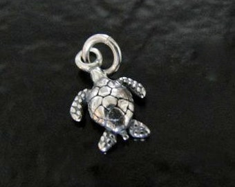 Sterling Silver 3D Turtle Charm 9x13mm