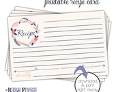 Printable Recipe Card • Navy Blue and Coral • Shabby Chic Vintage Wedding • INSTANT DOWNLOAD • Matches the Reina design