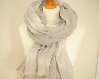 Winter Sky Cotton Scarf - Blue Grey - Tie Dyed -  Womens Organic Accessory - Ready To Ship