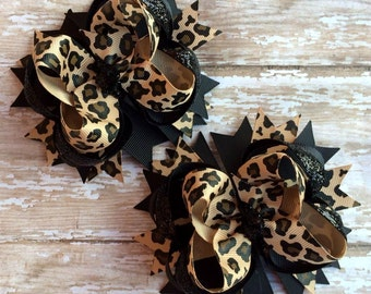 Black and Leopard Pigtail Hair Bows, OTT, Baby Headband, Toddler Headband, Infant Headband, Baby & Toddler, Baby Shower, Birthdays, School