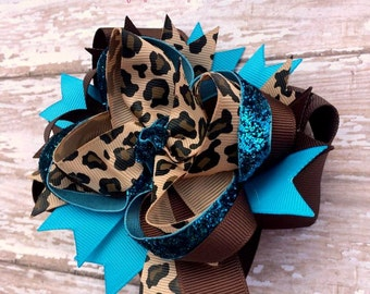 Leopard, Turquoise and Brown Hair Bow, OTT Double Stacked, Baby Headband, Newborn Headband, Infant Headband, Baby & Toddler, Baby Shower