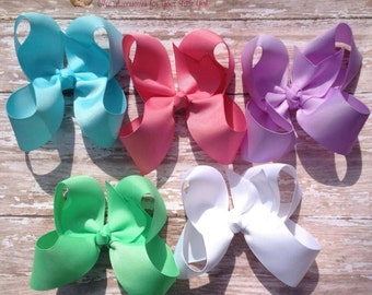 Set of 5 Hair Bows, Classic Large Solids, UPIC Colors, Match Uniforms, Birthday Gifts, Baby Headband, Infant Headband, Newborn Headbands