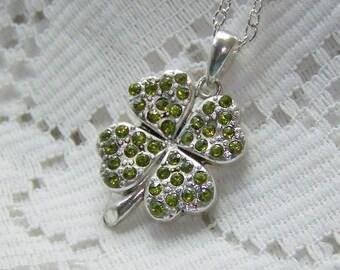 Silver & Green CLOVER Necklace, Lucky Charm, Irish jewelry, Four Leaf Clover, LUCKY SHAMROCK pendant, Green Rhinestones, Emerald Green