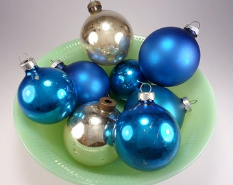 Two Blue Shiny Brite and Six Unknown Mfg. Blue and Silver Glass Ball Ornaments, Festive Tree Trimming, Xmas Home Decor, Holiday Crafting
