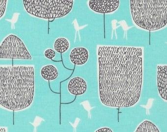 SALE - Cloud 9 Fabrics - Yoyogi Park Collection - Tokyo Trees in Turquoise Organic