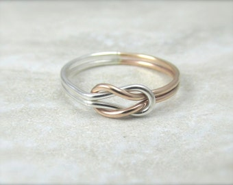 Solid Gold Infinity Ring / Ready To Ship Size 5.5 / Rose Gold and Silver / Best Friends Ring / Sisters Ring / Wedding Ring / Wedding Sale