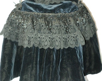 Vicotorian Velvet Cape Beaded Jett Original Wearable 1880s Chantilly Lace