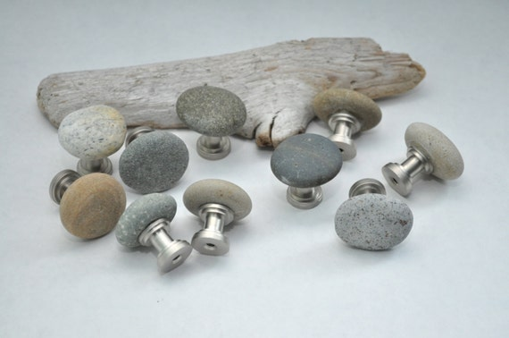 Ready to Ship - Beach & River Rock Cabinet Knobs - Set of 10