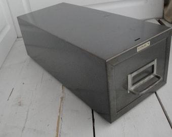 Vintage Cole Metal File Drawer Gray Industrial