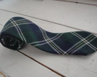 Mens Vintage Necktie Skinny Plaid Wool