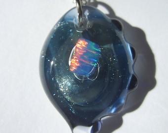 ON SALE - Encased Opalite Glass Pendant - Glassand Opal Necklace - Opal and Glass Glass Jewelry Handblown Glass Jewelry by FireGoddessGlass