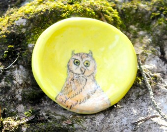 Owl on Light Yellow pinch pot - hand painted original by Lora Shelley