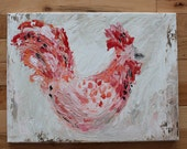 The Rooster -Original Art Painting 16x12 Farmstyle Farm Home Decor Canvas Free Shipping The Patriotic Peacock Fine Art