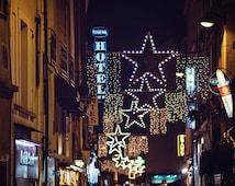 Paris Photography, Street Lights in Paris, Stars, Bokeh Lights, Paris Print, Midnight in Paris Art, Square Photograph - Starry Night