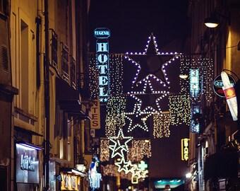 Paris Lights, Paris Photography, Stars, Bokeh Lights, Paris Print, Midnight in Paris Street Art, Square Photo, Winter in Paris Starry Night