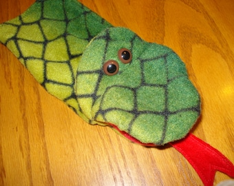 one Snake Hand Puppet green and black fleece fabric moveable mouth