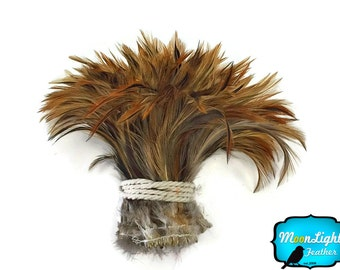 Feather Trim, 1 Yard - FURNACE RED Strung Rooster Neck Hackle Wholesale feathers (bulk) : 3906