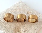 Adjustable Ring | Brass Ring | Hammered Blank or Brushed Brass Ring | R80003