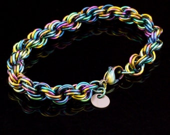 Niobium Double Spiral Chainmaille Bracelet - Kit or Ready Made
