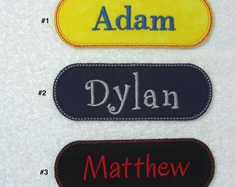 Personalized Single Name Patch Style #6 Fabric Embroidered Iron On Applique Patch MADE TO ORDER